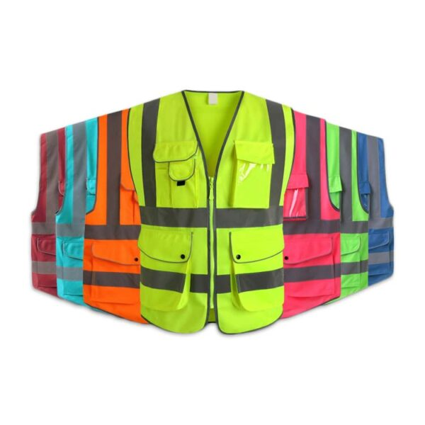 Safetymaster brand Fluorescent lMulti Pocket safety vests wholesale